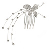 Bridal/ Prom/ Party Clear Crystal Butterfly Side Hair Comb In Silver Tone - 80mm Across
