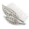 Statement Bridal/ Wedding/ Prom/ Party Rhodium Plated Clear Austrian Crystal Double Leaf Side Hair Comb - 95mm W