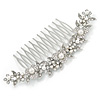 Large Bridal/ Wedding/ Prom/ Party Rhodium Plated Clear Austrian Crystal, White Simulated Pearl Floral Hair Comb - 110mm
