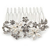 Medium Bridal/ Wedding/ Prom/ Party Rhodium Plated Clear Austrian Crystal, Faux Pearl Floral Hair Comb - 60mm