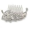 Clear Austrian Crystal 'Leaf' Side Hair Comb In Rhodium Plating - 70mm