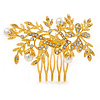 Bridal/ Wedding/ Prom/ Party Bright Gold Tone Metal Clear Austrian Crystal Glass Pearl Floral Side Hair Comb - 70mm