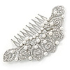 Statement Bridal/ Wedding/ Prom/ Party Rhodium Plated Clear Austrian Crystal, White Glass Pearl Sculptured 'Leaves' Side Hair Comb - 105mm Width