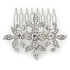 Bridal/ Wedding/ Prom/ Party Rhodium Plated Clear Austrian Crystal Floral Side Hair Comb - 60mm Width