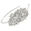 Statement Bridal/ Wedding/ Prom Rhodium Plated Clear Crystal Feather Motif Tiara Headband