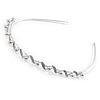 Bridal/ Wedding/ Prom Rhodium Plated White Glass Pearl, Clear Crystal Tiara Headband