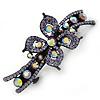 Bridal Wedding Prom Black Tone Lilac/ Purple Diamante Flower Barrette Hair Clip Grip - 95mm Across