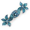 Bridal Wedding Prom Silver Tone Teal/ Blue Diamante 'Double Flower' Barrette Hair Clip Grip - 90mm Across