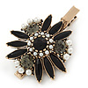 Vintage Inspired Black/ Grey Crystal, Pearl Flower Hair Beak Clip/ Concord Clip/ Clamp Clip In Bronze Tone - 60mm L