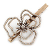 Large Vintage Inspired Clear Austrian Crystal Open Daisy Flower Hair Beak Clip/ Concord Clip/ Clamp Clip In Bronze Tone - 90mm L