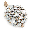 Large White Jewelled Cluster Hair Beak Clip/ Concord Clip/ Clamp Clip In Gold Tone - 80mm L