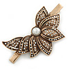 Vintage Inspired Clear Austrian Crystal Half Flower Hair Beak Clip/ Concord Clip/ Clamp Clip In Bronze Tone - 80mm L