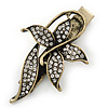 Vintage Inspired Clear Crystal Butterfly Hair Beak Clip/ Concord Clip/ Clamp Clip In Bronze Tone - 55mm L