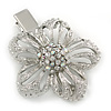 Clear Austrian Crystal Open Daisy Flower Hair Beak Clip/ Concord Clip/ Clamp Clip In Silver Tone - 60mm L