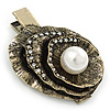Vintage Inspired Clear Crystal, Pearl Hammered Shell Hair Beak Clip/ Concord Clip/ Clamp Clip In Bronze Tone - 60mm L