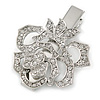 Clear Austrian Crystal Open Rose Hair Beak Clip/ Concord Clip/ Clamp Clip In Silver Tone - 60mm L