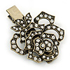 Vintage Inspired Clear Austrian Crystal Open Rose Hair Beak Clip/ Concord Clip/ Clamp Clip In Bronze Tone - 60mm L