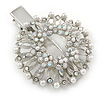 Clear Austrian Crystal, Glass Pearl Wreath Hair Beak Clip/ Concord Clip/ Clamp Clip In Silver Tone - 60mm L