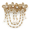 Vintage Inspired Burnt Gold Tone, Clear Crystal, White Faux Pearl  Floral Barrette Hair Clip Grip - 95mm Across