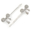2 Bridal/ Prom Crystal Bow Hair Grips/ Slides In Rhodium Plating - 60mm Across