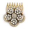 Vintage Inspired Clear Austrian Crystal, Glass Pearl Flower Side Hair Comb In Antique Gold Tone - 45mm