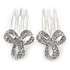Set of 2 Small Clear Austrian Crystal Bow Side Hair Comb In Rhodium Plating - 25mm Each