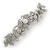 Bridal Wedding Prom Silver Tone Diamante Butterfly Barrette Hair Clip Grip - 70mm Across