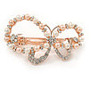 Bridal Wedding Prom Rose Gold Tone Simulated Pearl Diamante 'Asymmetrical Butterfly' Barrette Hair Clip Grip - 55mm Across