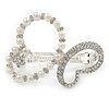 Bridal Wedding Prom Silver Tone Simulated Pearl Diamante 'Asymmetrical Butterfly' Barrette Hair Clip Grip - 55mm Across