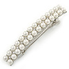 Bridal Wedding Prom Silver Tone 2 Row Pearl, Crystal Barrette Hair Clip Grip - 80mm W
