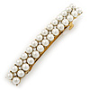 Vintage Inspired Bridal Wedding Prom 2 Row Pearl, Crystal Barrette Hair Clip Grip In Gold Tone Metal - 80mm W