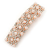 Pearl and Crystal Barrette Hair Clip Grip In Rose Gold Tone Metal - 60mm W