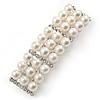 Bridal/ Wedding/ Prom Silver Tone Simulated Pearl Diamante Barrette Hair Clip Grip - 55mm Across