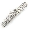 Bridal Wedding Prom Silver Tone Glass Pearl Crystal Barrette Hair Clip Grip - 70mm Across