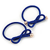 Two Piece Violet Blue Bow with Gold Tone Bead Design Hair Elastic Set/ Ideal For School
