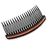 Black Acrylic With Clear and Red Crystal Accent Hair Comb - 11cm