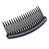 Black Acrylic With Blue/ AB Crystal Accent Hair Comb - 11cm