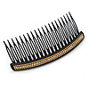 Black Acrylic With Champagne/ AB Crystal Accent Hair Comb - 11cm