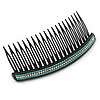 Black Acrylic With Clear and Light Blue Crystal Accent Hair Comb - 11cm