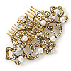 Bridal/ Wedding/ Prom/ Party Art Deco Style Antique Gold Tone White Simulated Pearl and Austrian Crystal Hair Comb - 95mm W
