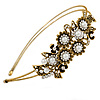 Vintage Inspired Bridal/ Wedding/ Prom Antique Gold Tone Clear Crystal, White Glass Pearl Floral Tiara Headband