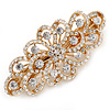 Bridal Wedding Prom Gold Tone Filigree Diamante Floral Barrette Hair Clip Grip - 80mm Across