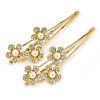 2 Bridal/ Prom Clear Crystal, Pearl Flower Hair Grips/ Slides In Gold Plating - 65mm Across