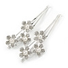 2 Bridal/ Prom Clear Crystal, Pearl Flower Hair Grips/ Slides In Rhodium Plating - 65mm Across