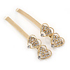 2 Bridal/ Prom Clear Crystal Double Heart Hair Grips/ Slides In Gold Plating - 65mm L