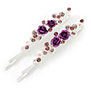 Pair Of Purple Crystal Rose Hair Slides In Rhodium Plating - 55mm L