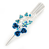 Medium Blue Crystal, Rose Hair Beak Clip/ Concord/ Alligator Clip In Silver Tone - 75mm L
