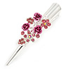 Medium Pink Crystal, Triple Rose Hair Beak Clip/ Concord/ Alligator Clip In Silver Tone - 75mm L