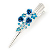 Medium Blue Crystal, Triple Rose Hair Beak Clip/ Concord/ Alligator Clip In Silver Tone - 75mm L