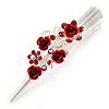 Medium Red Crystal, Rose Floral Hair Beak Clip/ Concord/ Alligator Clip In Silver Tone - 75mm L